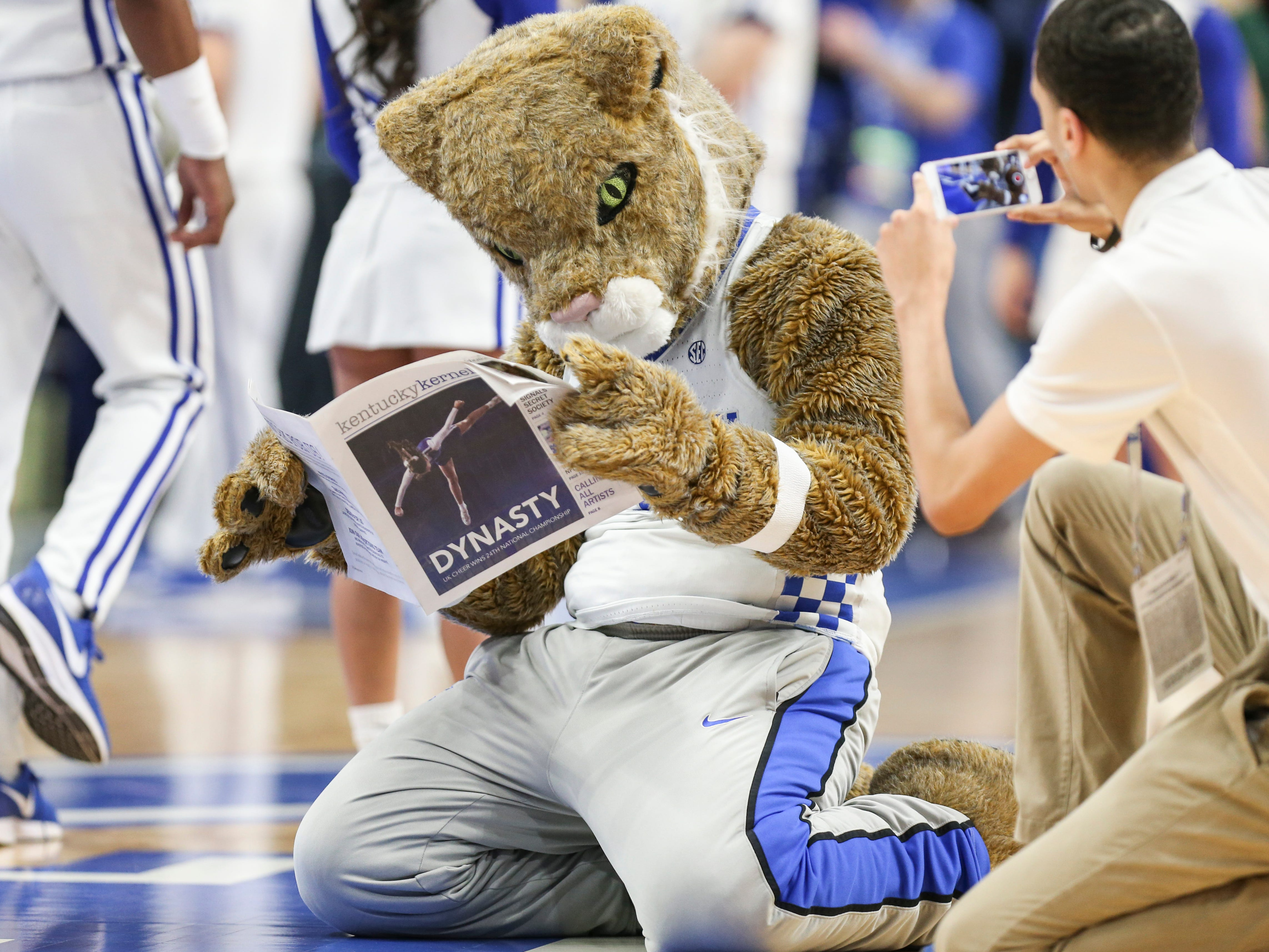 The Kentucky Wildcat read the Kentucky Kernel, the student newspaper, before the game against South Carolina. Feb. 5, 2019