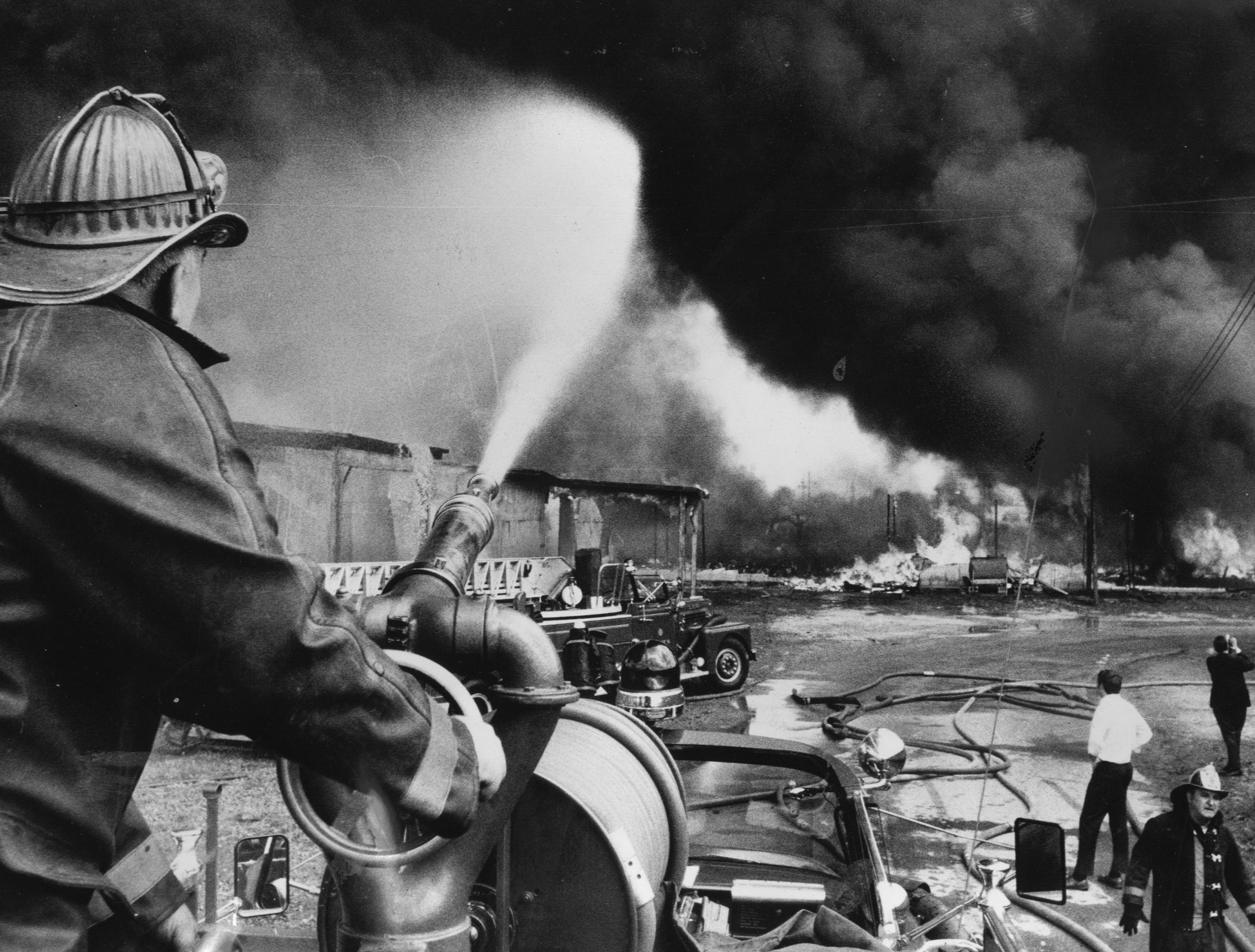 A 1969 warehouse fire on Seventh Street was one of the more difficult ones fought by city-county fireman. 