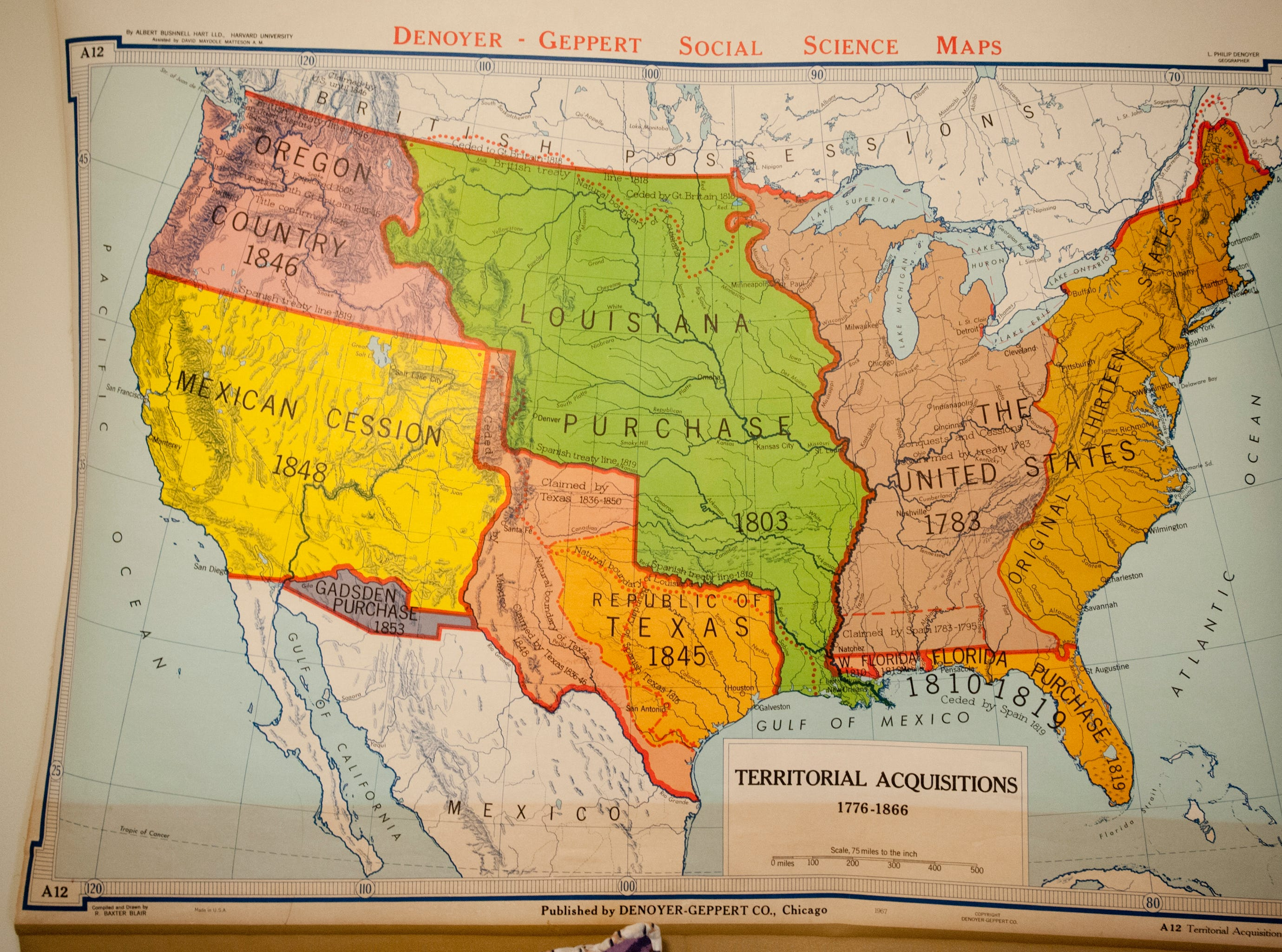The wall of Lennox' bedroom is decorated with this Denoyer-Geppert Social Sciene school map of the United States which shows the territorial acquisitions of the country from 1776 to 1866. The map came from a client of Squires after a renovation.