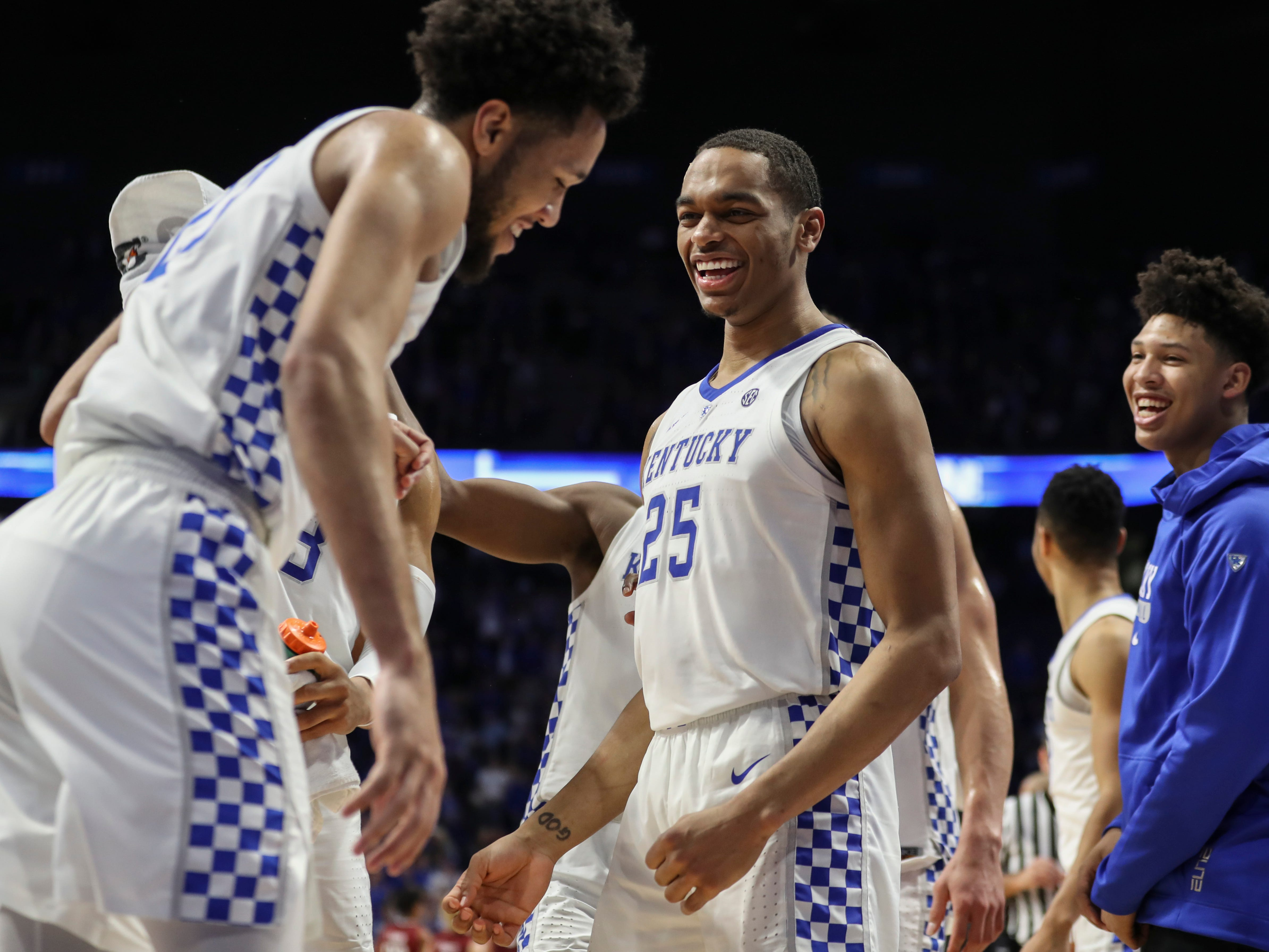Kentucky's PJ Washington Jr smiles at EJ Montgomery at the end of the game as the Wildcats rolled past South Carolina. Feb. 5, 2019