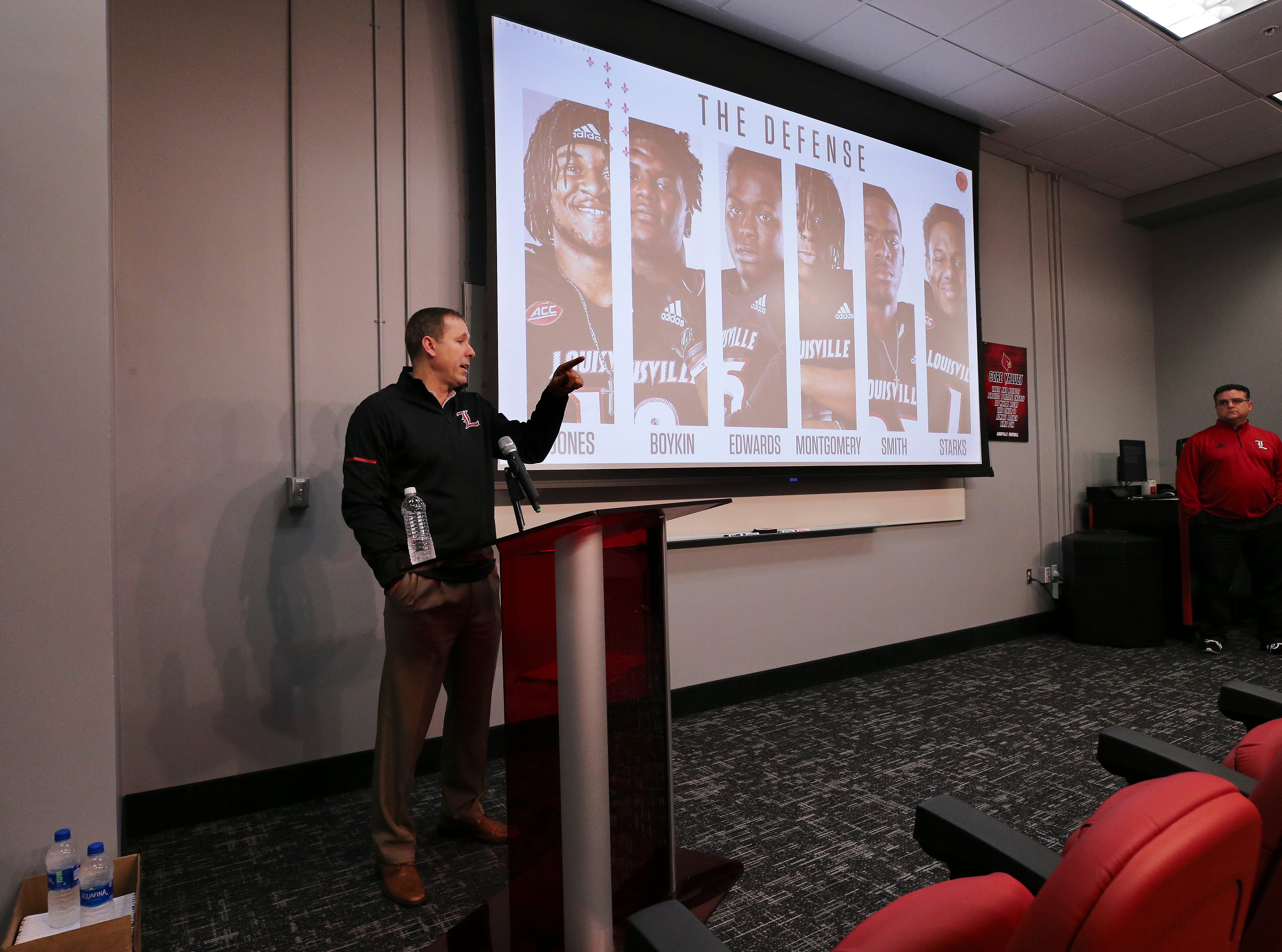 Louisville head football coach Scott Satterfield talked to the media on college football signing day.Feb. 6, 2019