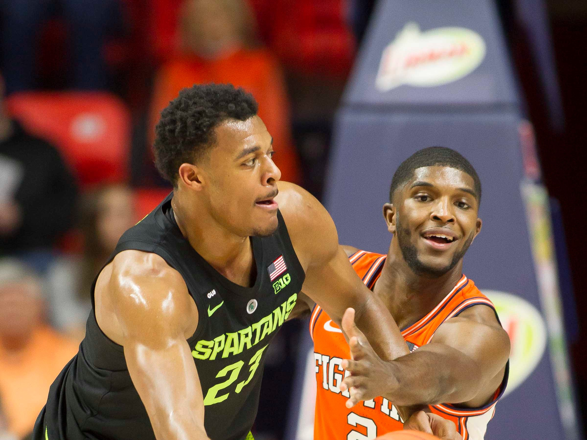 Feb 5, 2019; Champaign, IL, USA; Illinois Fighting Illini forward Kipper Nichols (2) defends Michigan State Spartans forward Xavier Tillman (23) during the first half at State Farm Center. Mandatory Credit: Mike Granse-USA TODAY Sports
