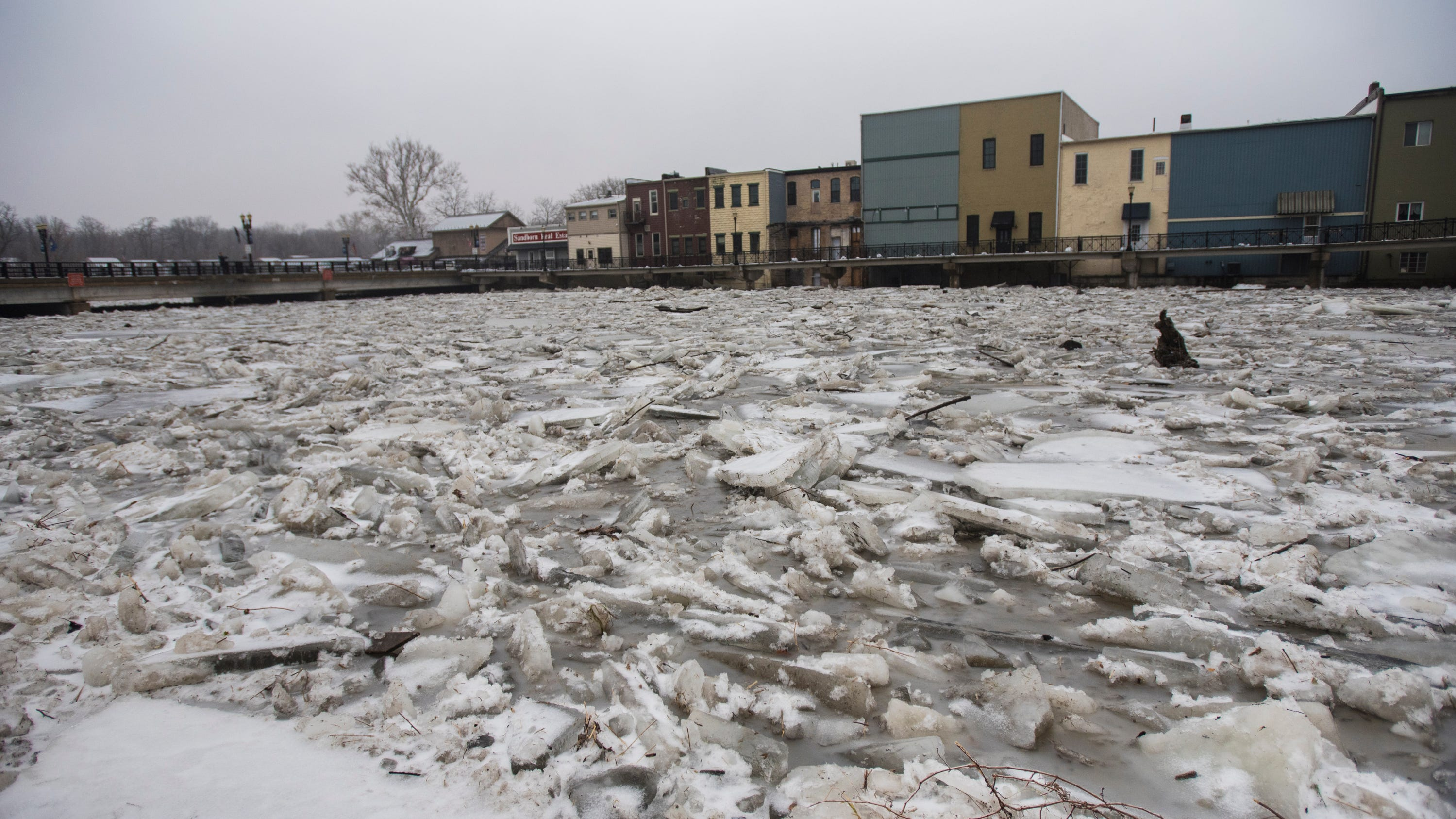 See images of the flooding and ice jam in Portland