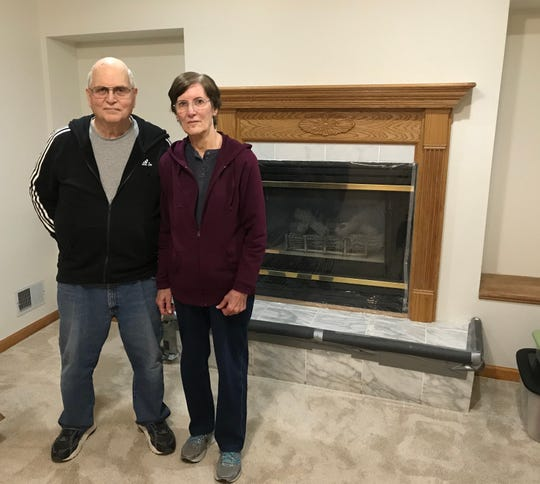 David and Sharon Less of DeWitt, Feb. 5, 2019, show their newly renovated living area after a sewage backup ruined their downstairs quarters. Though the backup was caused by a clog in a city sewer main, the Lesses are out $11,000.