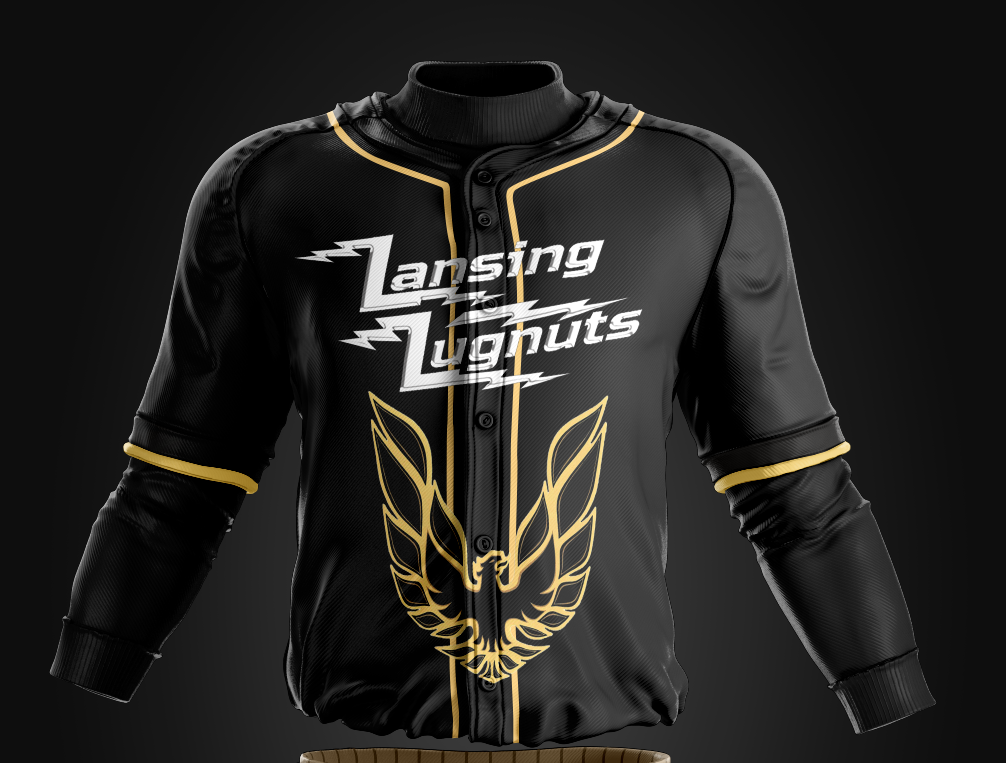 """The Lansing Lugnuts will have a tribute night this summer for Burt Reynolds and his character in the movie """"Smokey and the Bandit."""" Players will wear these jerseys."""