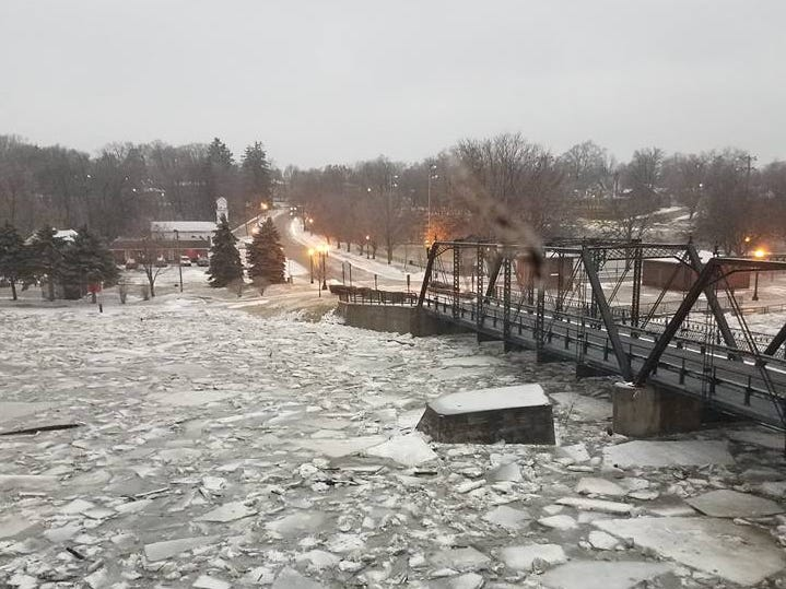 Ice jam seen at the bridge in Portland, Michigan, on Wednesday.