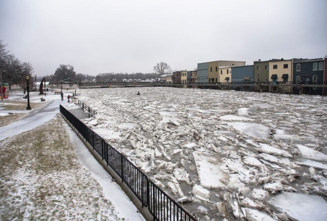 A view of downtown Portland, Michigan and the ice jam in the Grand River Wednesday morning, Feb. 6, 2019.  About 50 people were evacuated late Tuesday evening through early Wednesday morning due to flooding.