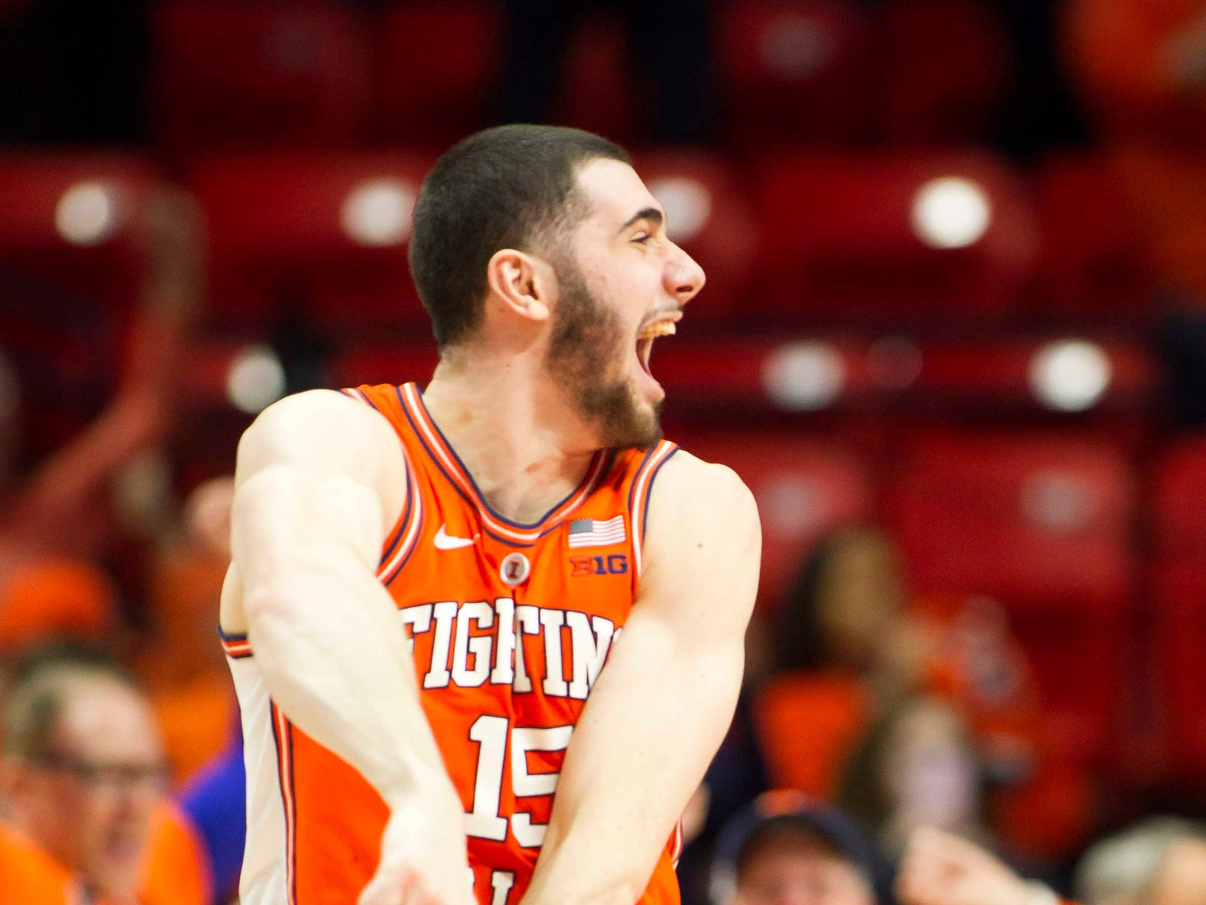 Feb 5, 2019; Champaign, IL, USA; Illinois Fighting Illini forward Giorgi Bezhanishvili (15) reacts to the final buzzer at the end of the game against the Michigan State Spartans at State Farm Center. Mandatory Credit: Mike Granse-USA TODAY Sports