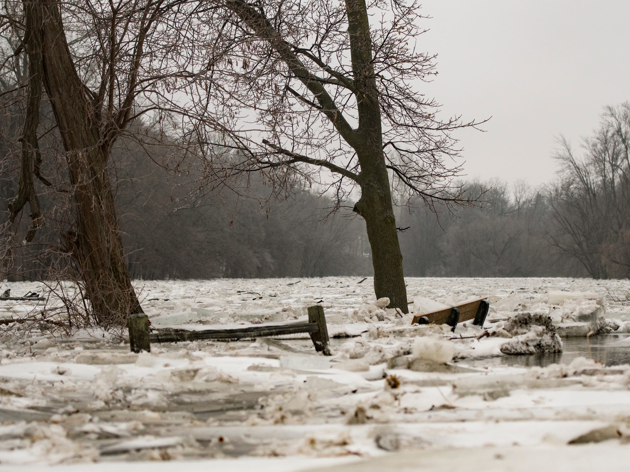 The Grand River and river trail in downtown Portland, Michigan, Wednesday morning, Feb. 6, 2019.  About 50 people were evacuated late Tuesday evening through early Wednesday morning due to flooding along the Grand River caused by melting snow and an ice jam in the river.  [Matthew Dae Smith/Lansing State Journal]