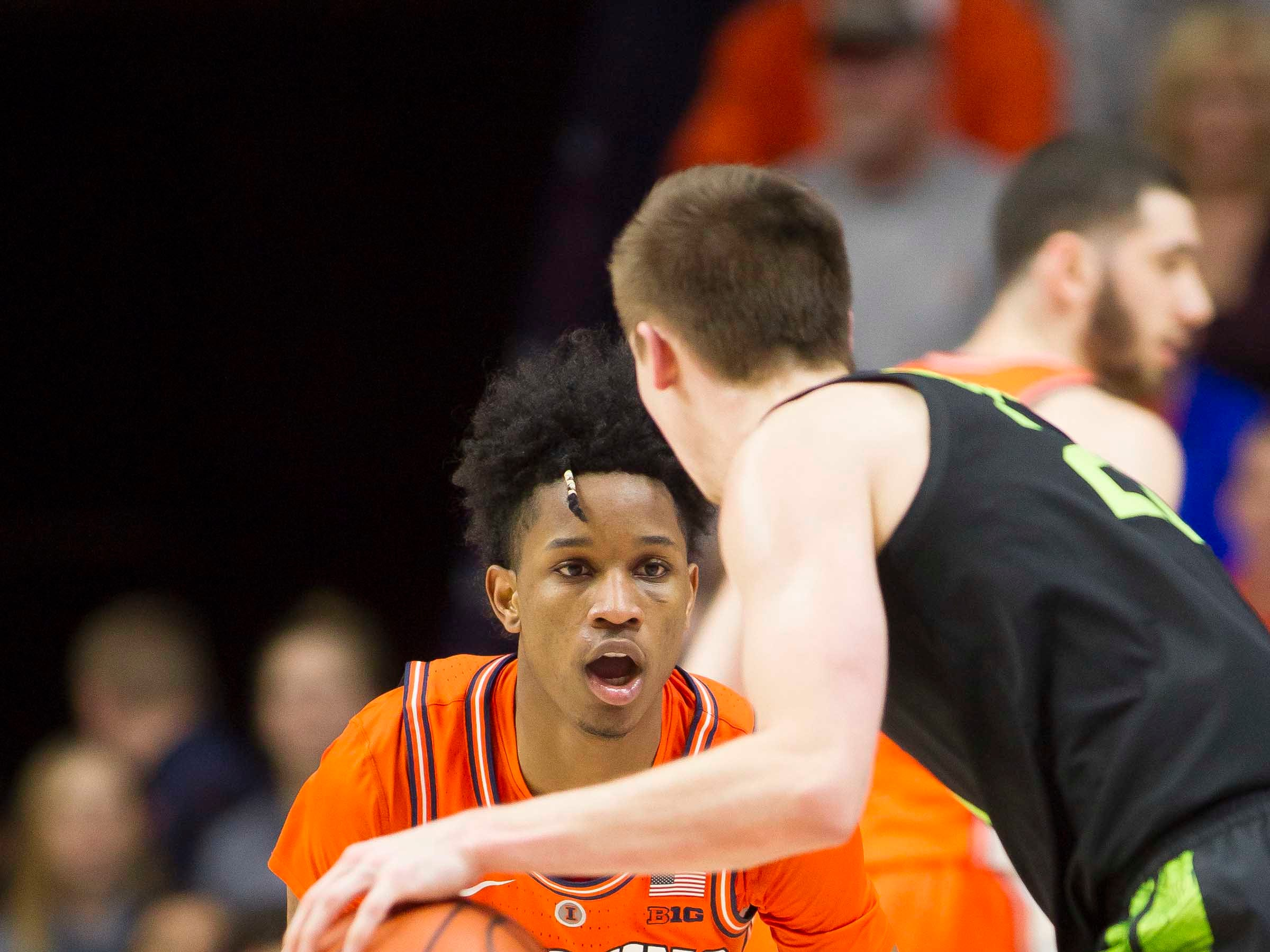 Feb 5, 2019; Champaign, IL, USA; Illinois Fighting Illini guard Trent Frazier (1) defends Michigan State Spartans guard Matt McQuaid (20) during the first half at State Farm Center. Mandatory Credit: Mike Granse-USA TODAY Sports