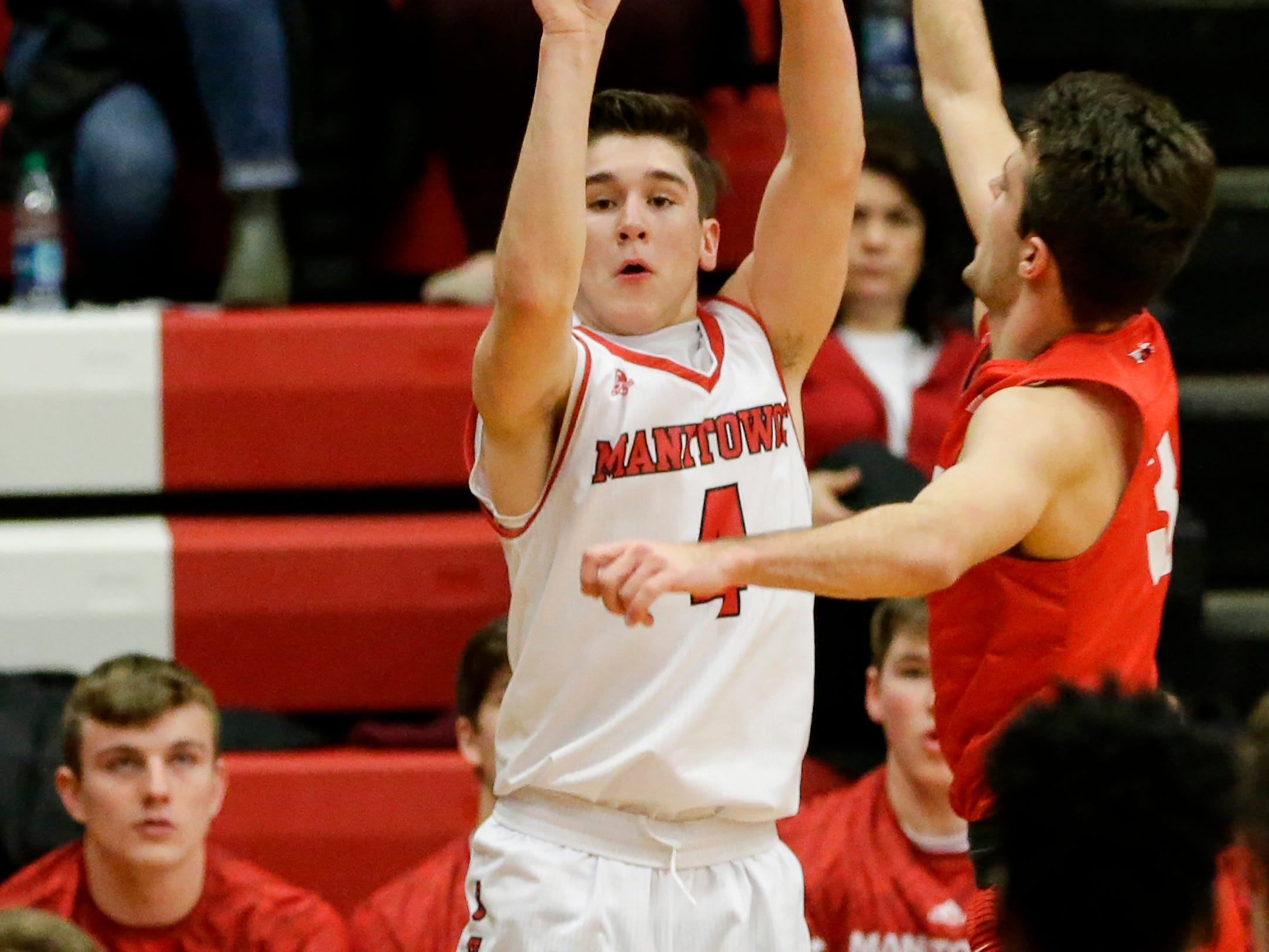 Manitowoc Lincoln's Mason Dopirak (4) puts up a three against Sheboygan South at Manitowoc Lincoln High School Tuesday, February 5, 2019, in Manitowoc, Wis. Joshua Clark/USA TODAY NETWORK-Wisconsin