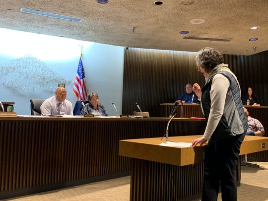 Amanda Stanfield, who is running for city council's fourth ward seat, speaks before elected members of council Feb. 5, 2019.