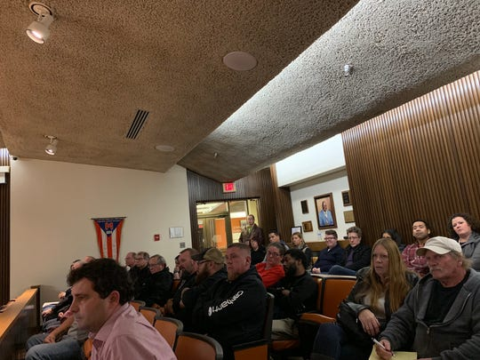 Mansfield residents attend a Streets and Traffic Committee hearing Tuesday, Feb. 5, 2019.