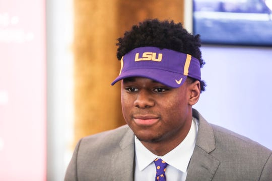 February 06, 2019 - Maurice Hampton, the top unsigned football prospect in the state, poses for a photo after announcing that he signed his National Letter of Intent to play college football for LSU.