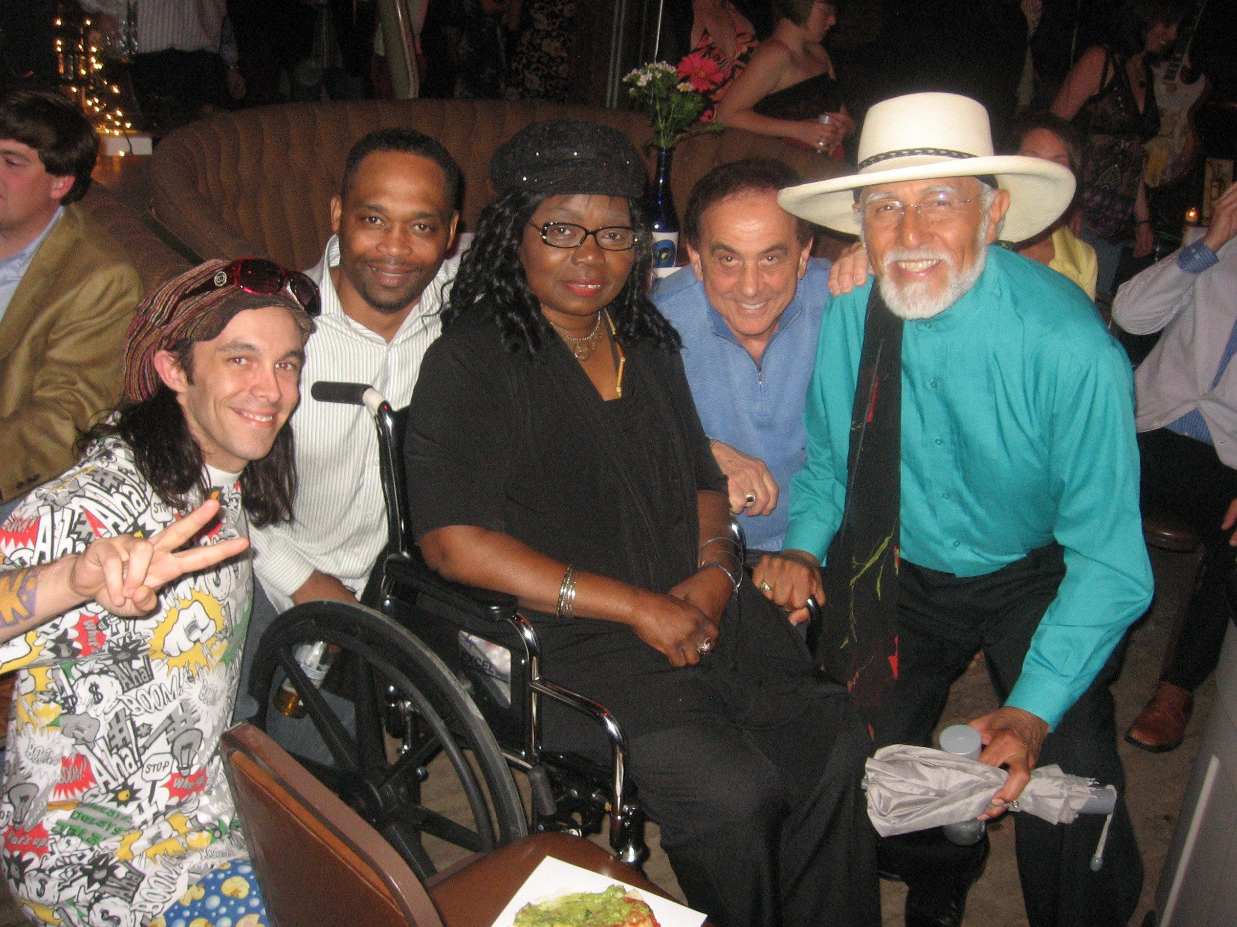 """May 5, 2009 - Memphis music was well represented at The Blues Ball Spring Auction. Guests included, from left, Muck Sticky, Ken Moseley, Ruby Wilson, George Klein and Sam """"The Sham"""" Samudio."""