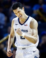 Memphis Grizzlies forward Yuta Watanabe celebrates a made 3-pointer against the Minnesota Timberwolves defense during action at the FedExForum in Memphis, Tenn., Tuesday, February 5, 2019.