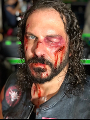 "Ouch: David Kallaway, in makeup for ""Gotham."""