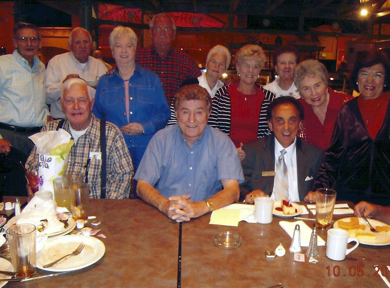 A group of Humes High School friends met at the Horseshoe Casino to celebrate George Klein's birthday on October 8.  G.K. as he is known, is a Memphis legend in his own right and a dear friend of Elvis. Frank Austein (front row, from left) and Dr. Hubert Dellinger with George Klein; Homer Hudspeth (standing, from left), Bobby Blancett, Martha Blancett, Sonny Spore, Georgia Austein, Peggy Spore, Catherine Hudspeth, Blanche Jordan Scott and Georia Scarmouteos.