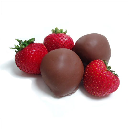 Dinstuhl's makes a unique type of chocolate-covered strawberry, totally enrobing it in chocolate and fondant.  Think chocolate-covered strawberry meets chocolate  covered cherry.
