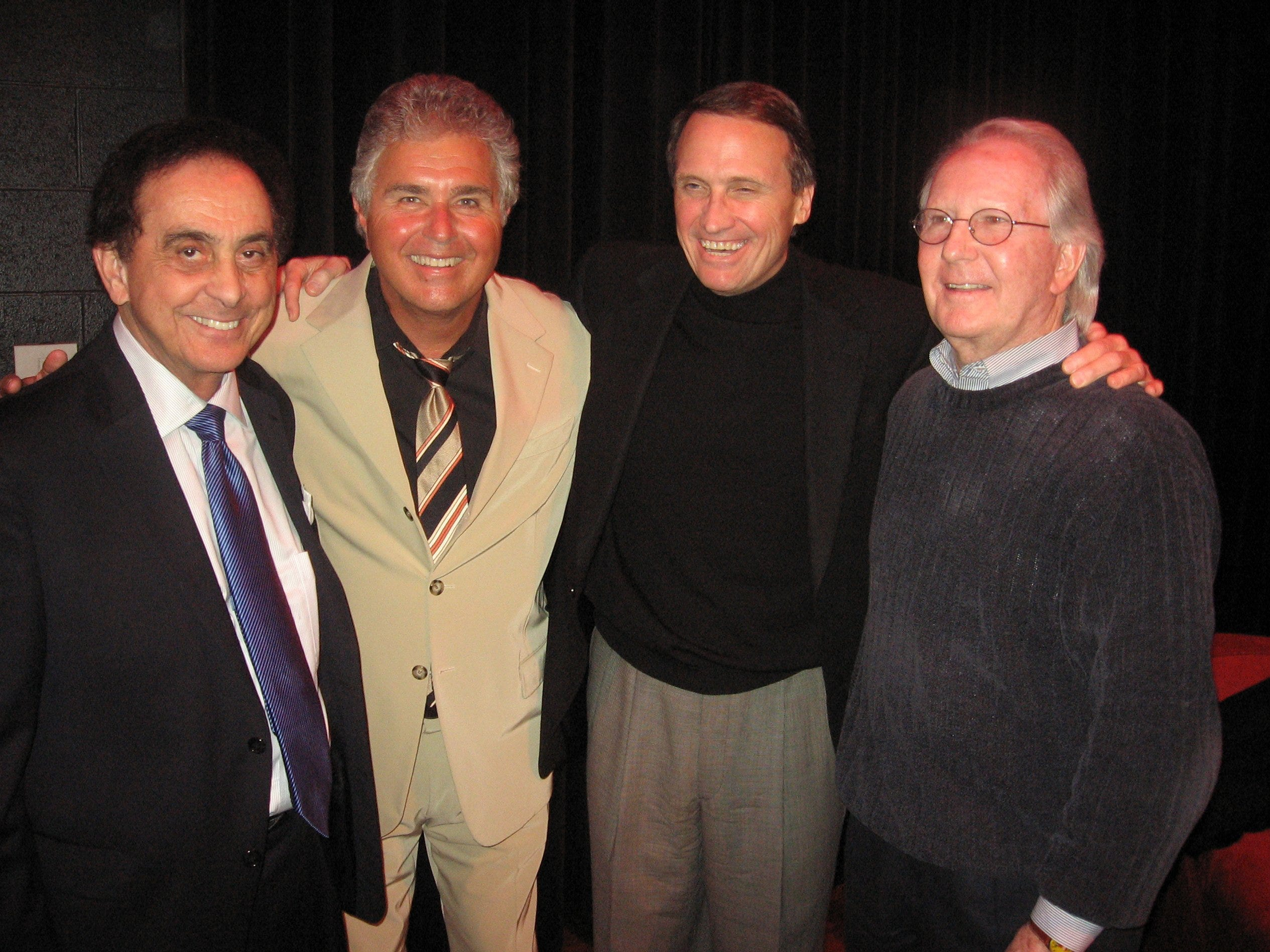 Singer Steve Tyrell (second from left) met with some of his Memphis buddies at a party after his concert Sunday at the Germantown Performing Arts Centre. Ted Donaldson (second from right) hosted the party, which drew George Klein (left) and Jerry Williams.