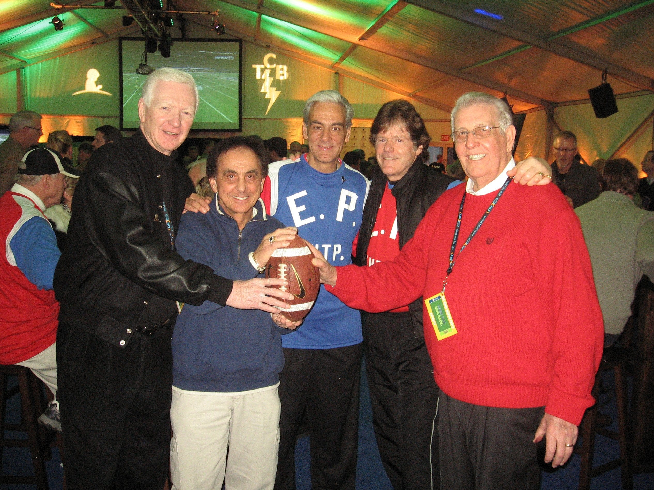 """Feb. 6, 2011 - Former Shelby County Mayors Jim Rout, left, and Bill Morris, right, chaired """"Game Day. Give Back. at Graceland"""" on Super Bowl Sunday. Also taking part were, from left, George Klein, ALSAC chief executive officer Rick Shadyac Jr. and Jerry Schilling."""
