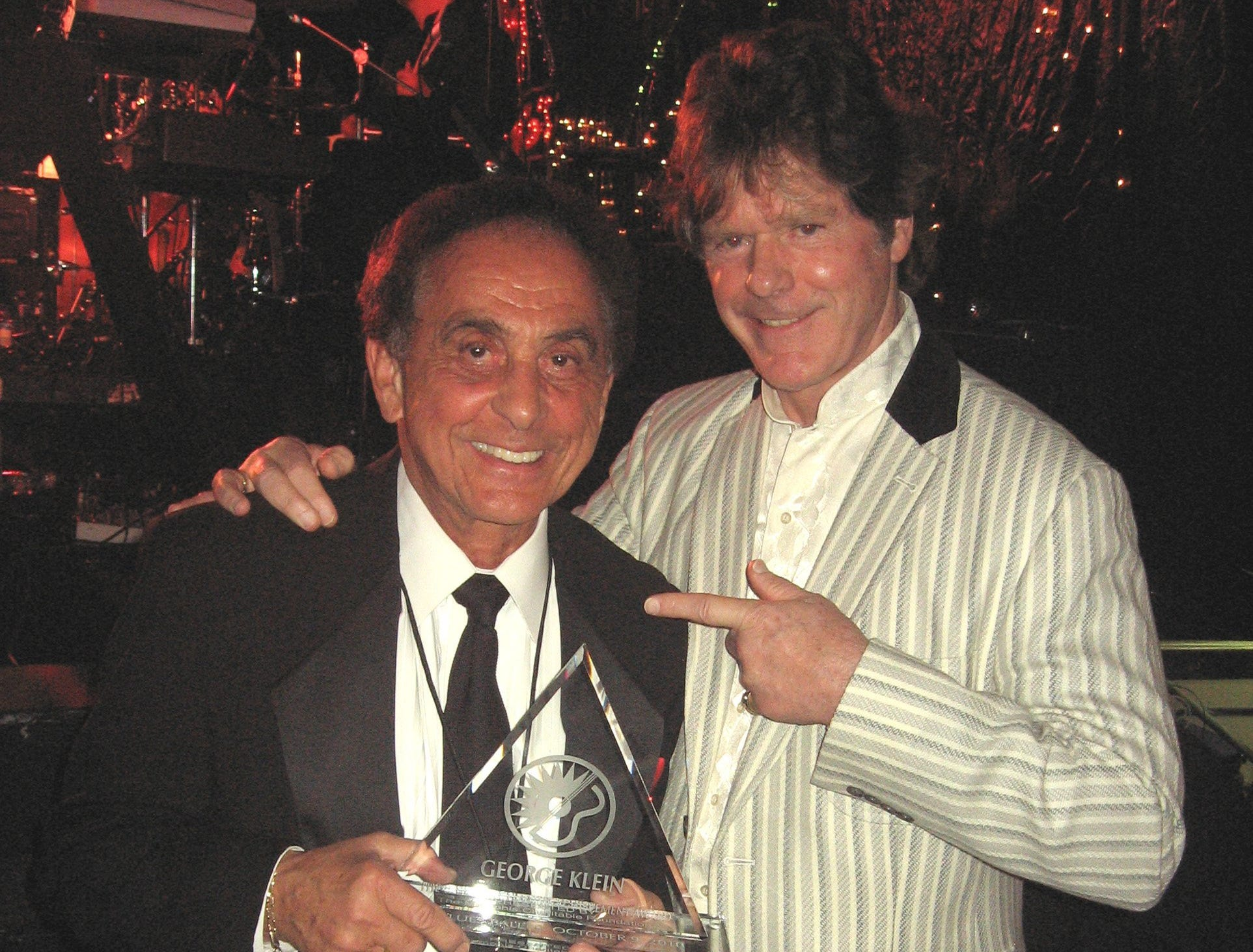 Oct. 9, 2010 - George Klein, left, was given the Lifetime Achievement Award Saturday night at The Blues Ball. His long-time friend, Jerry Schilling, presented the award.