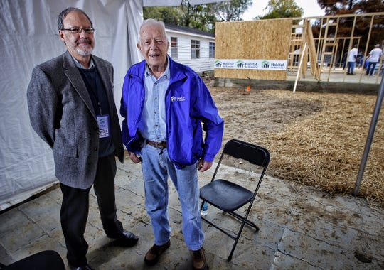 This was my second interview with former President Carter, at Habitat for Humanity's Carter Work Project site in 2015. I interviewed him a third time for a podcast in 2016 and a fourth time when he and former First Lady Rosalynn Carter came back to Memphis to help build the site in 2016.