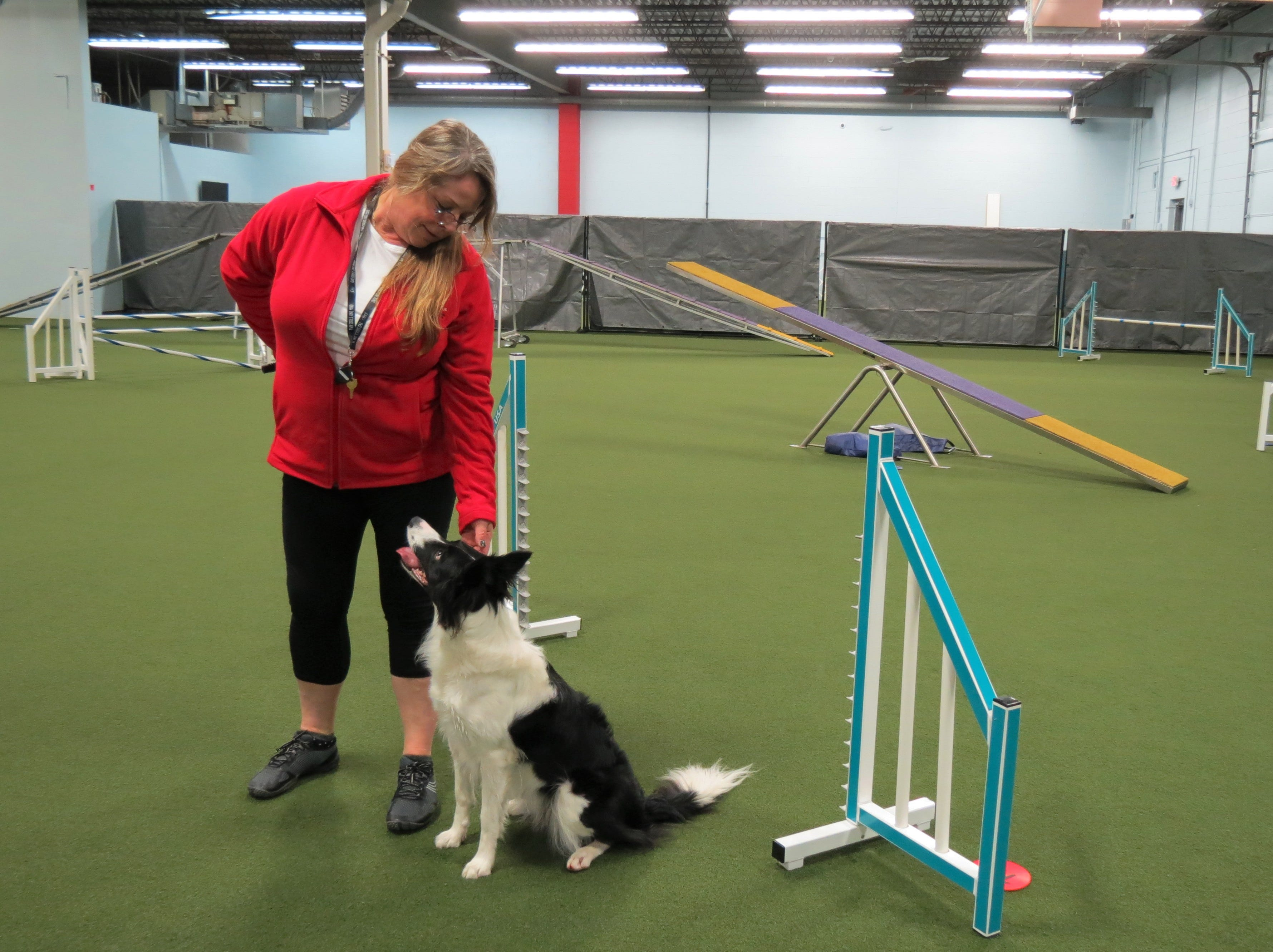 D. Lynne Luckow, the owner of Redline training center, works with her dog Power.