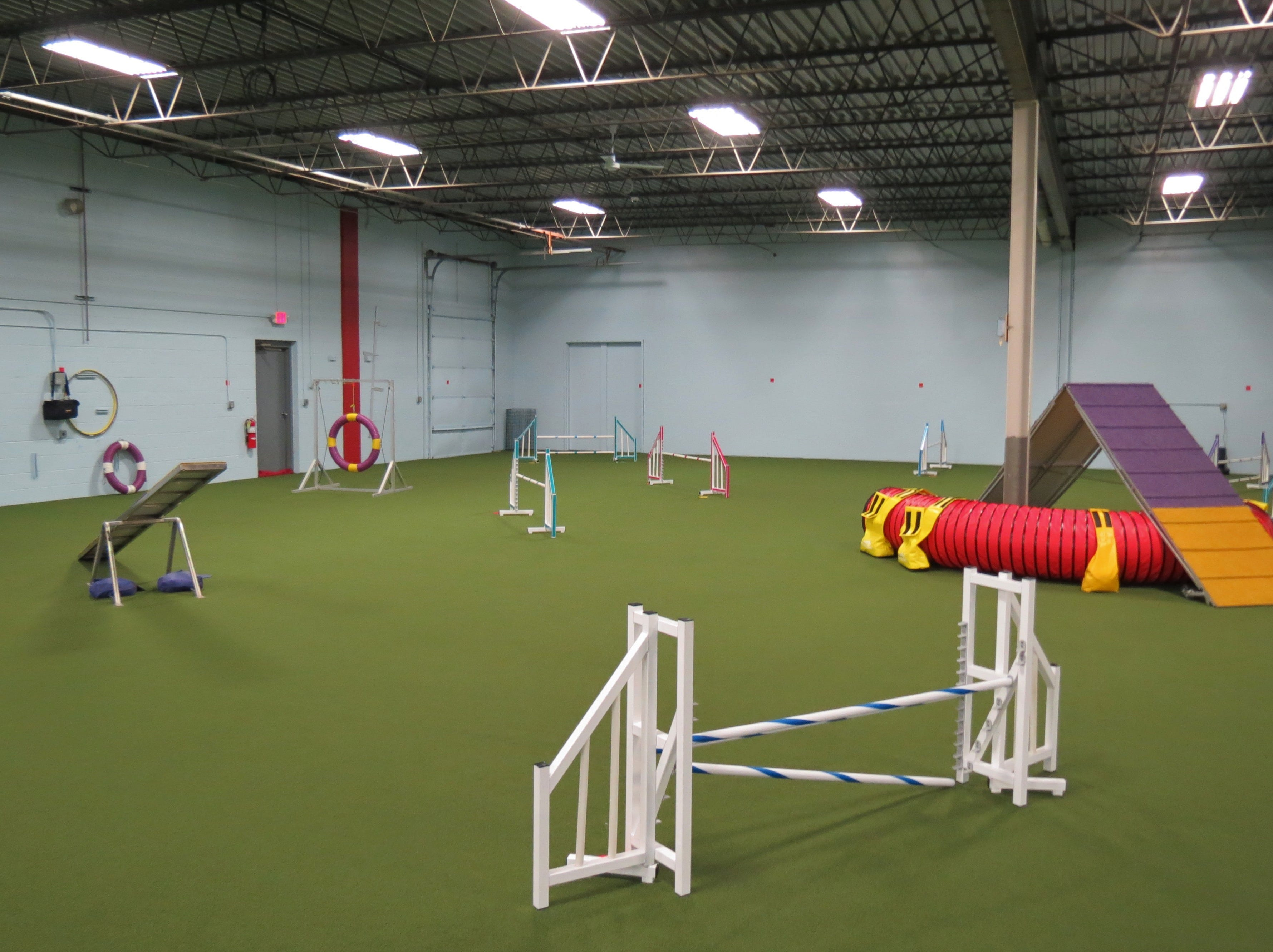 The Redline dog training center is setting up its regulation-grade equipment before it opens mid-February.