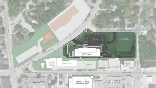 This overhead show shows where the new Waukesha City Hall would be located on the property. It would be closer to North Street at the rear of the existing campus, and the building would be connected to the city's transit center parking ramp via an angled skyway across North.