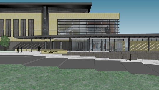 One of the BWBR renderings of the new city hall focuses on the main entryway accessible from the Delafield side of the building. The municipal building would also be accessible via a skyway connected to the North Street transit center's parking facilities.