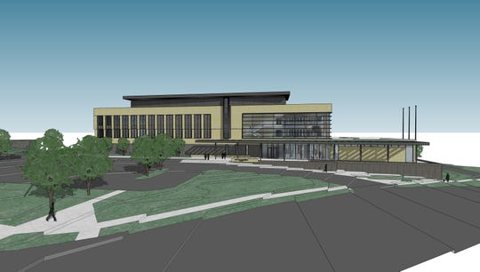 This updated rendering shows what the exterior of the new Waukesha city Hall building will look like from Delafield Street. City officials are trying to finalize the design of the $27 million project, taking into considerations the concerns voiced by aldermen on Feb. 5.
