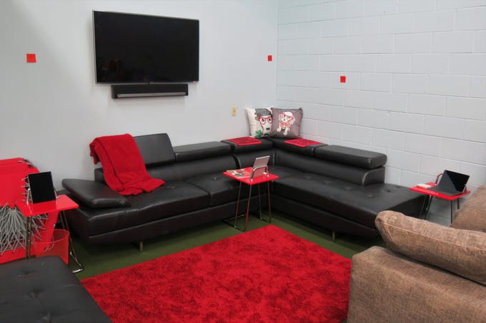 A corner of the Redline training center is a lounge area.