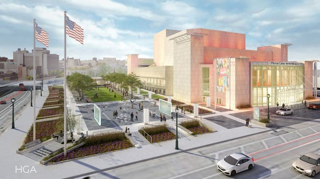 The Marcus Center's renovation plans include removing the grove of 36 horse chestnut trees and replacing them with an open lawn fringed by 18 honey locust trees.