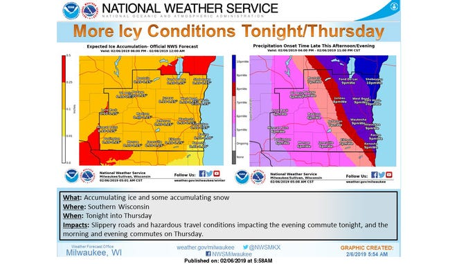 Icy conditions Wednesday night and Thursday are expected to cause hazardous driving conditions.