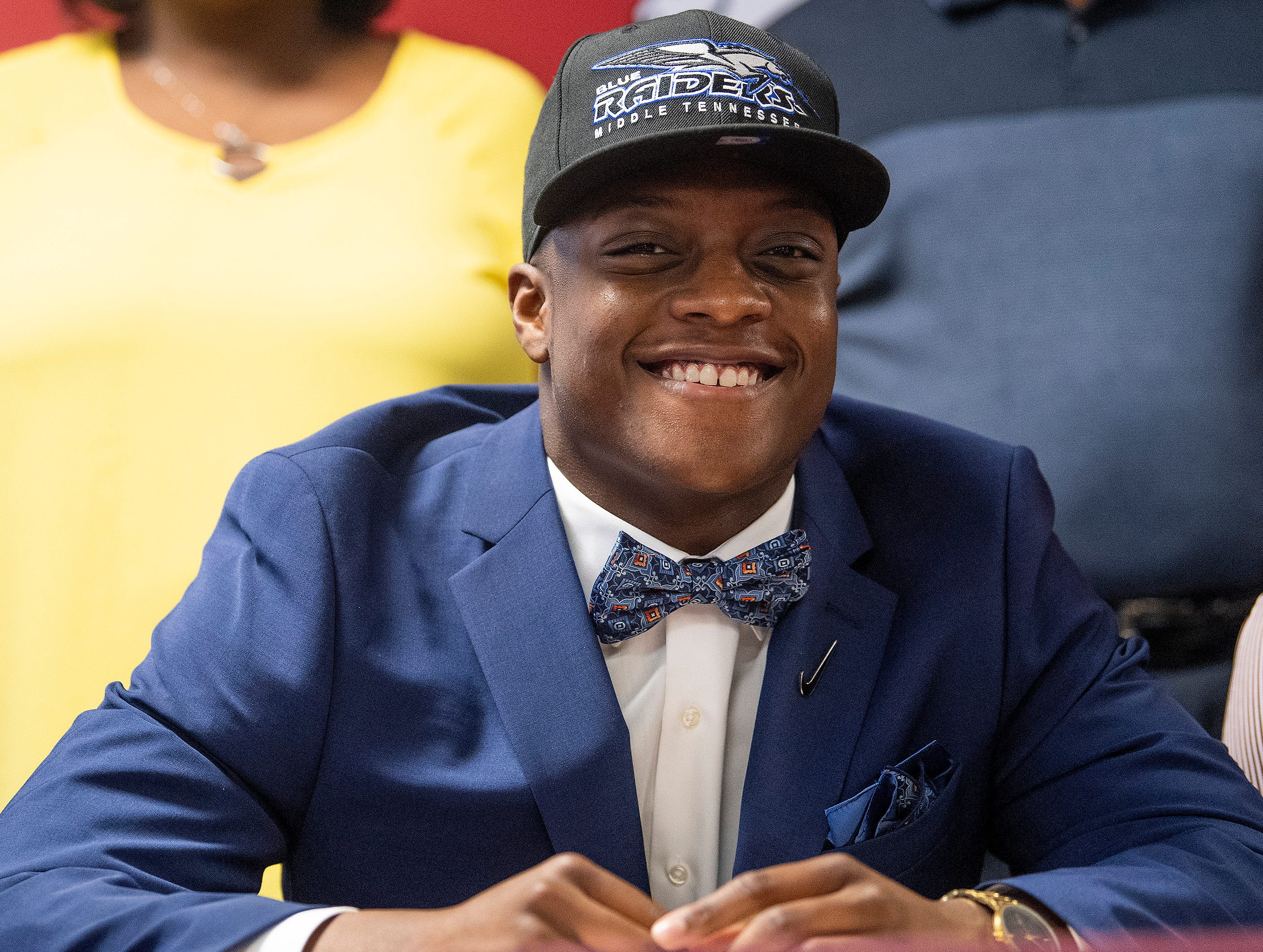 Prattville linebacker Rodney Thompson signs to play at Middle Tennessee during college football signing day at the school's campus in Pratttville, Ala., on Wednesday February 6, 2019.