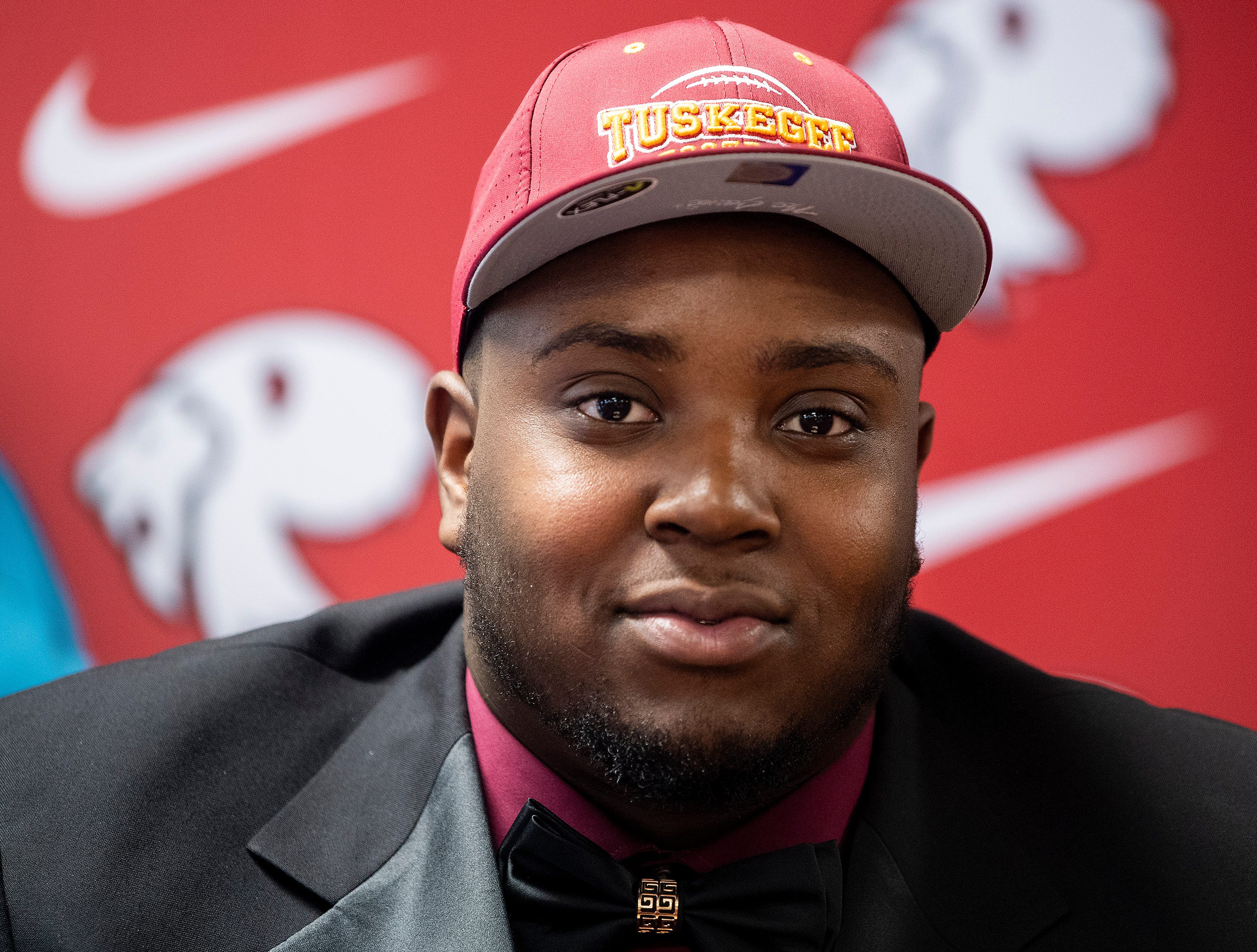 Prattville's Chris Bozeman signs to play at Tuskegee during college football signing day at the school's campus in Pratttville, Ala., on Wednesday February 6, 2019.