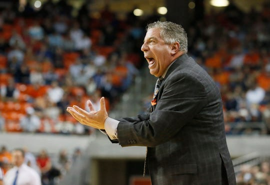 Auburn head coach Bruce Pearl reacts to a call during the first half against Florida at Auburn Arena on Feb. 5, 2019.