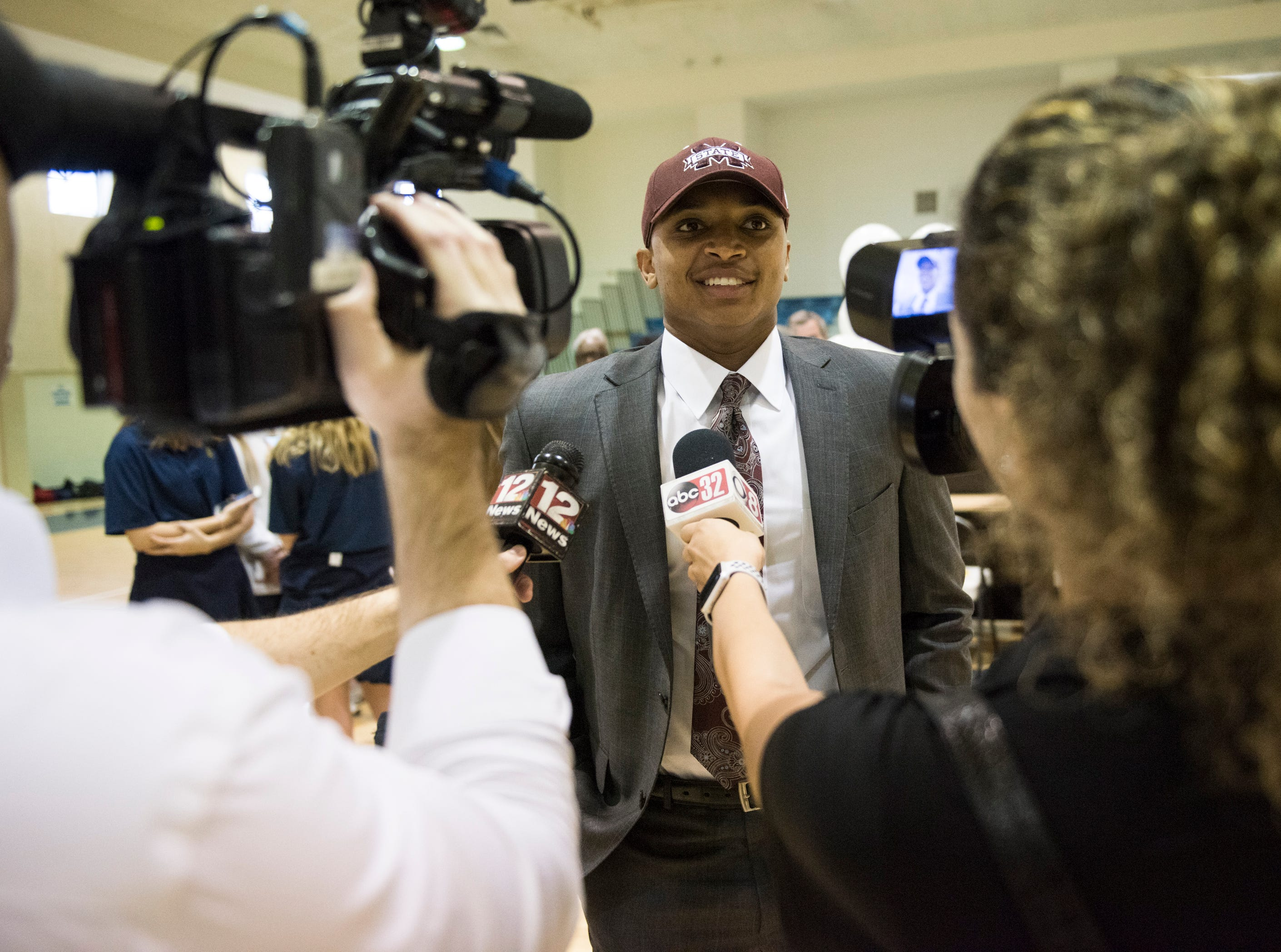 Collin Duncan is interviewed after he announces his signing to Mississippi State during signing day at St. James High School in Montgomery, Ala., on Wednesday, Feb. 6, 2019.