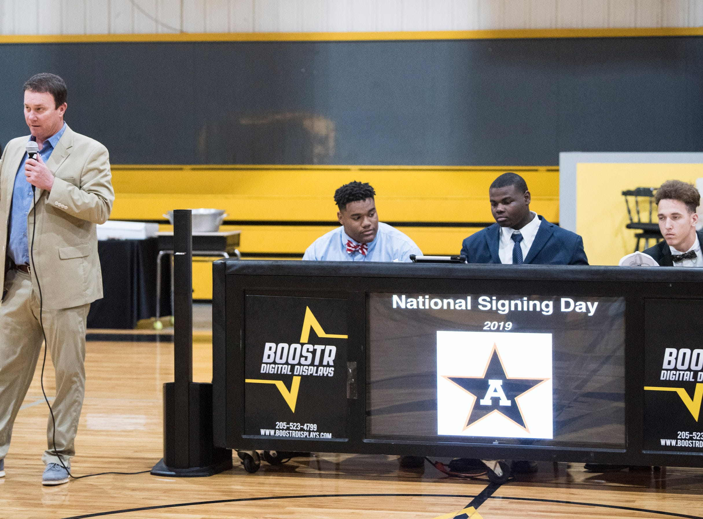 Coach Bobby Carr talks about his players during signing day at Autauga Academy Prattville, Ala., on Wednesday, Feb. 6, 2019.