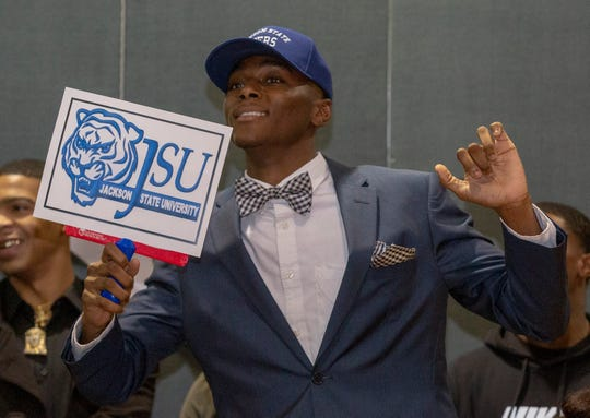 Brandon Sanders, a Jeff Davis football player, signed to continue the sport at Jackson State.
