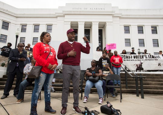 Emantic Bradford Sr., middle, speaks during a protest of his sons death in Montgomery, Ala., on Wednesday, Feb. 6, 2019. EJ Bradford was shot and killed by police Nov. 22, 2018 in a Hoover, Ala. mall. Alabama Attorney General Steve Marshall announced Tuesday there would be no charges filed against the officer involved in the shooting.