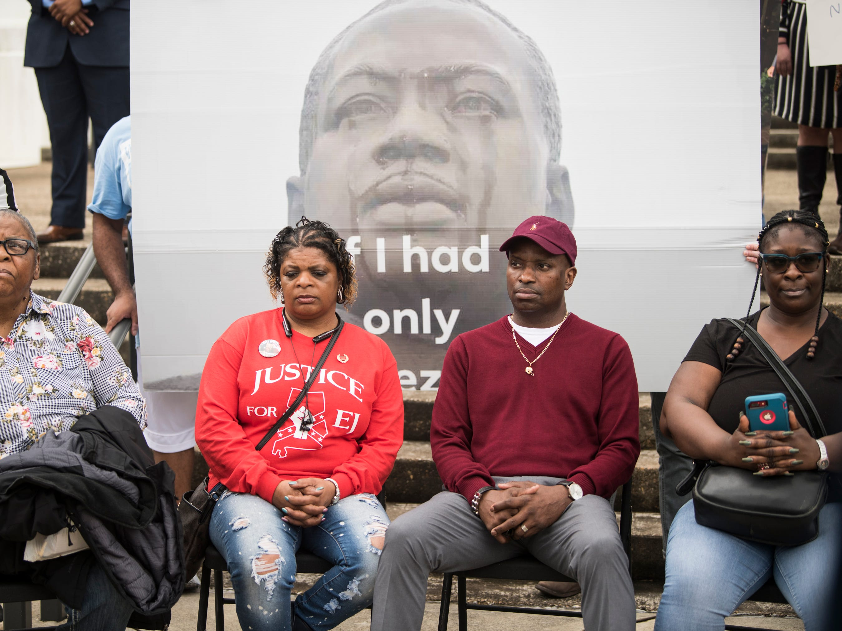 EJ Bradfords family from left, Althea Pipkins, grandmother, Cynthia Bradford, stepmother, Emantic Bradford Sr., father, and April Pipkins during a protest in Montgomery, Ala., on Wednesday, Feb. 6, 2019. EJ Bradford was shot and killed by police Nov. 22, 2018 in a Hoover, Ala. mall. Alabama Attorney General Steve Marshall announced Tuesday there would be no charges filed against the officer involved in the shooting.
