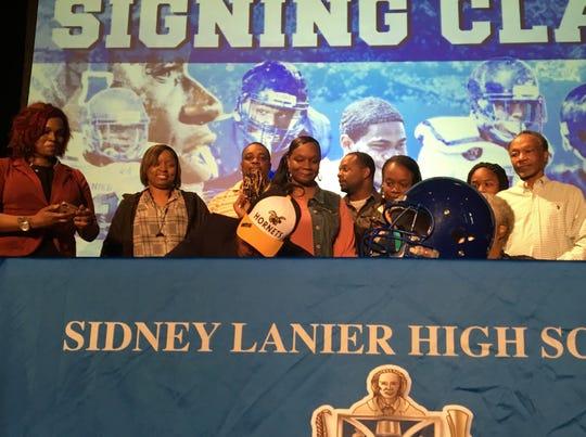 Lanier Senior Roderick Smith announces his decision to sign with Alabama State University on Tuesday, Feb. 6.