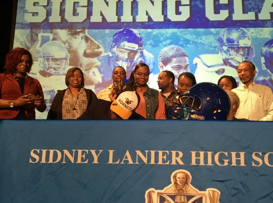 Lanier Senior Roderick Smith announces his decision to sign with Alabama State University on Tuesday, Feb. 6.