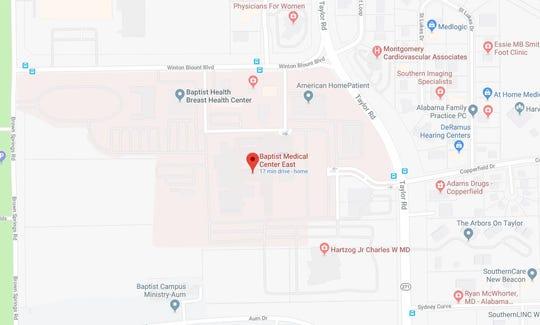 A patient suffered an apparent self-inflicted gunshot wound at Baptist Medical Center East.