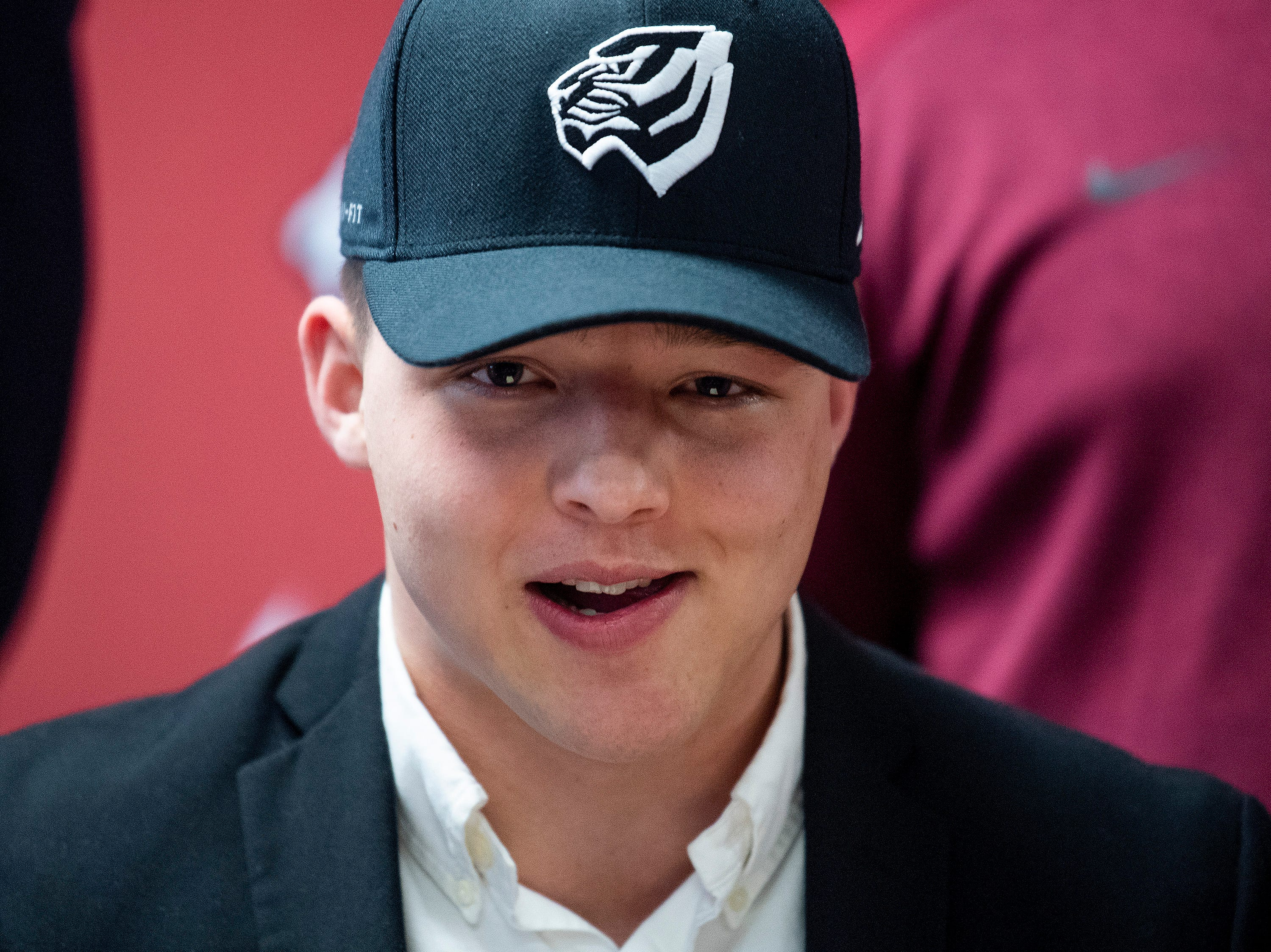 Prattville linebacker Zach Boerner signs to play at West Alabama during college football signing day at the school's campus in Pratttville, Ala., on Wednesday February 6, 2019.