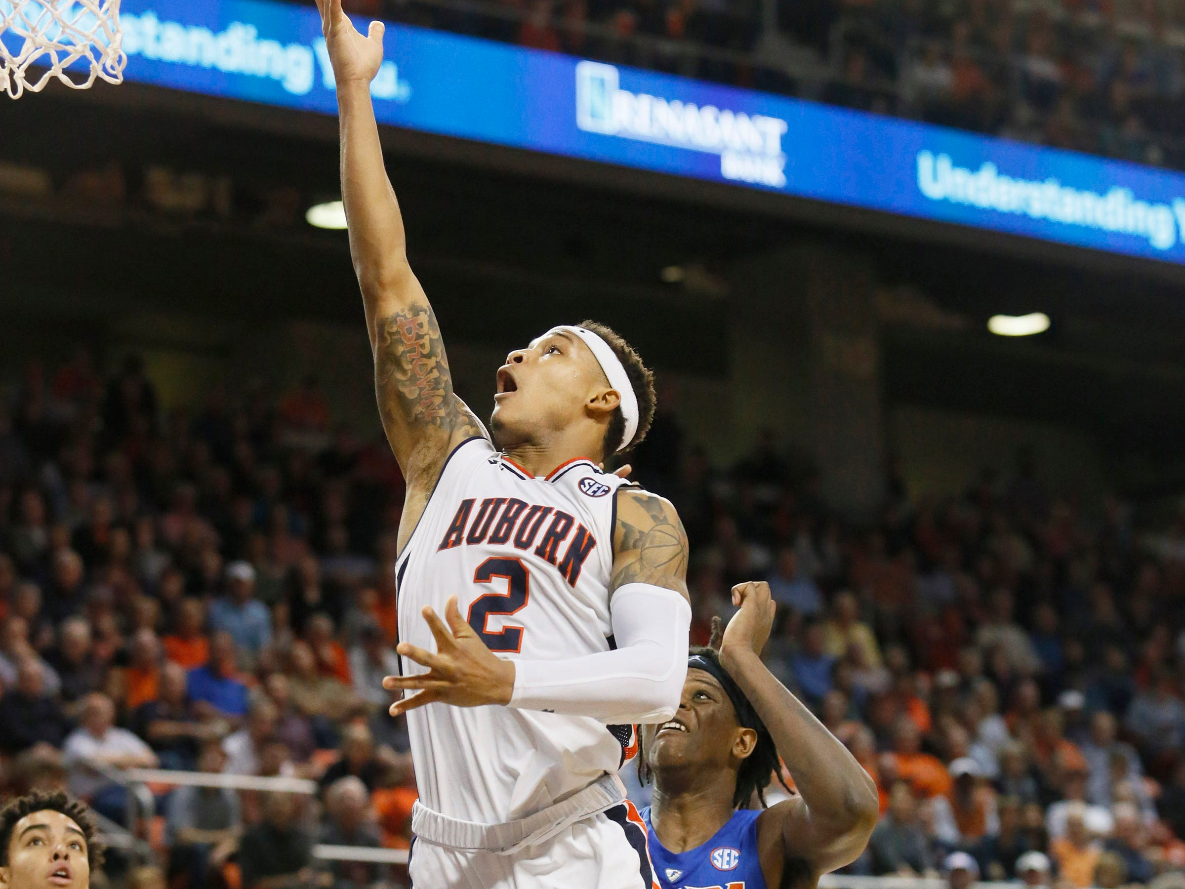 Feb 5, 2019; Auburn, AL, USA; Auburn Tigers guard Bryce Brown (10) goes for a shot against the Florida Gators during the second half at Auburn Arena. Mandatory Credit: John Reed-USA TODAY Sports