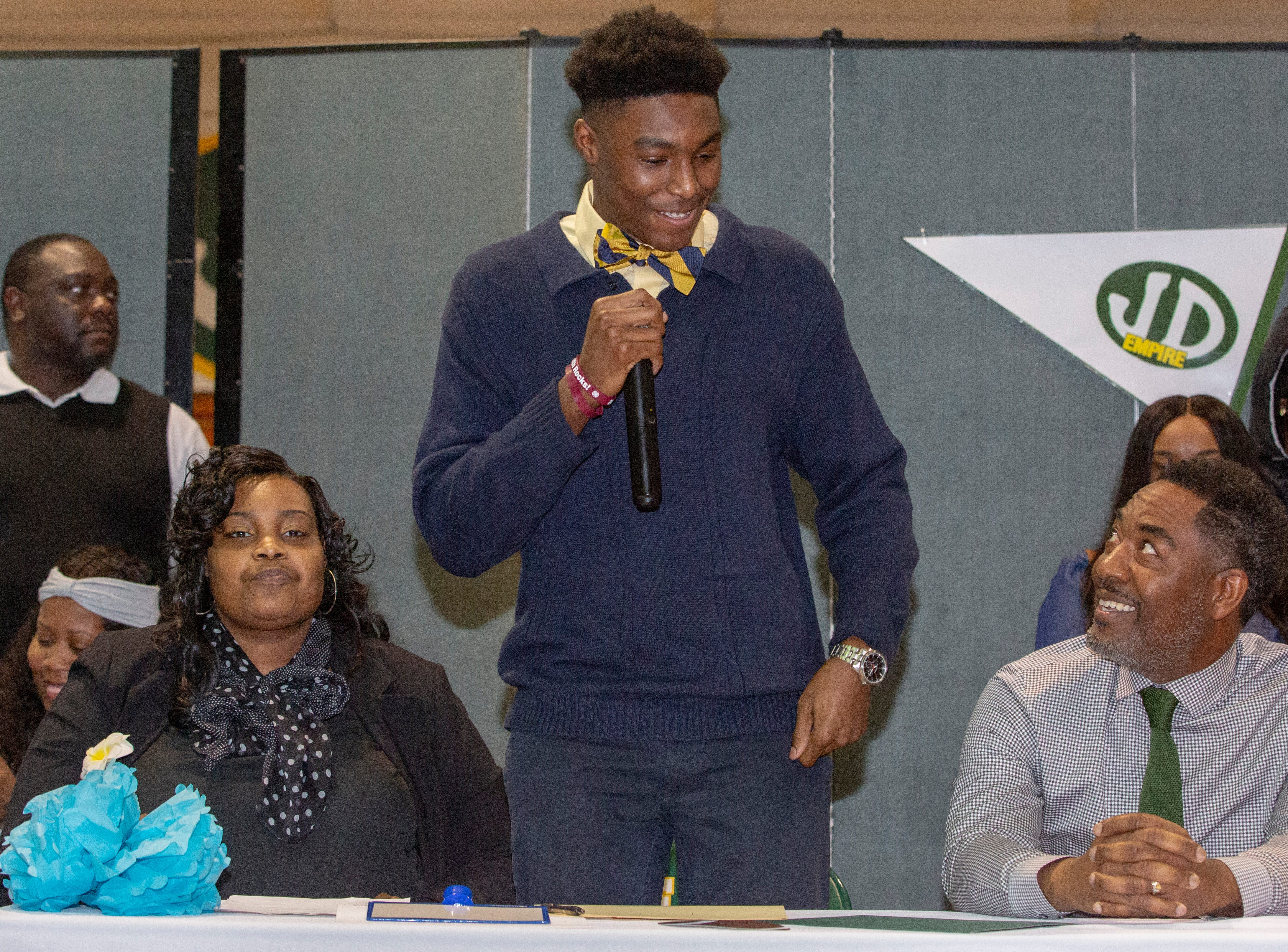Karon Phillips, with Jeff Davis High School, signed to play football at Tennessee Valley.