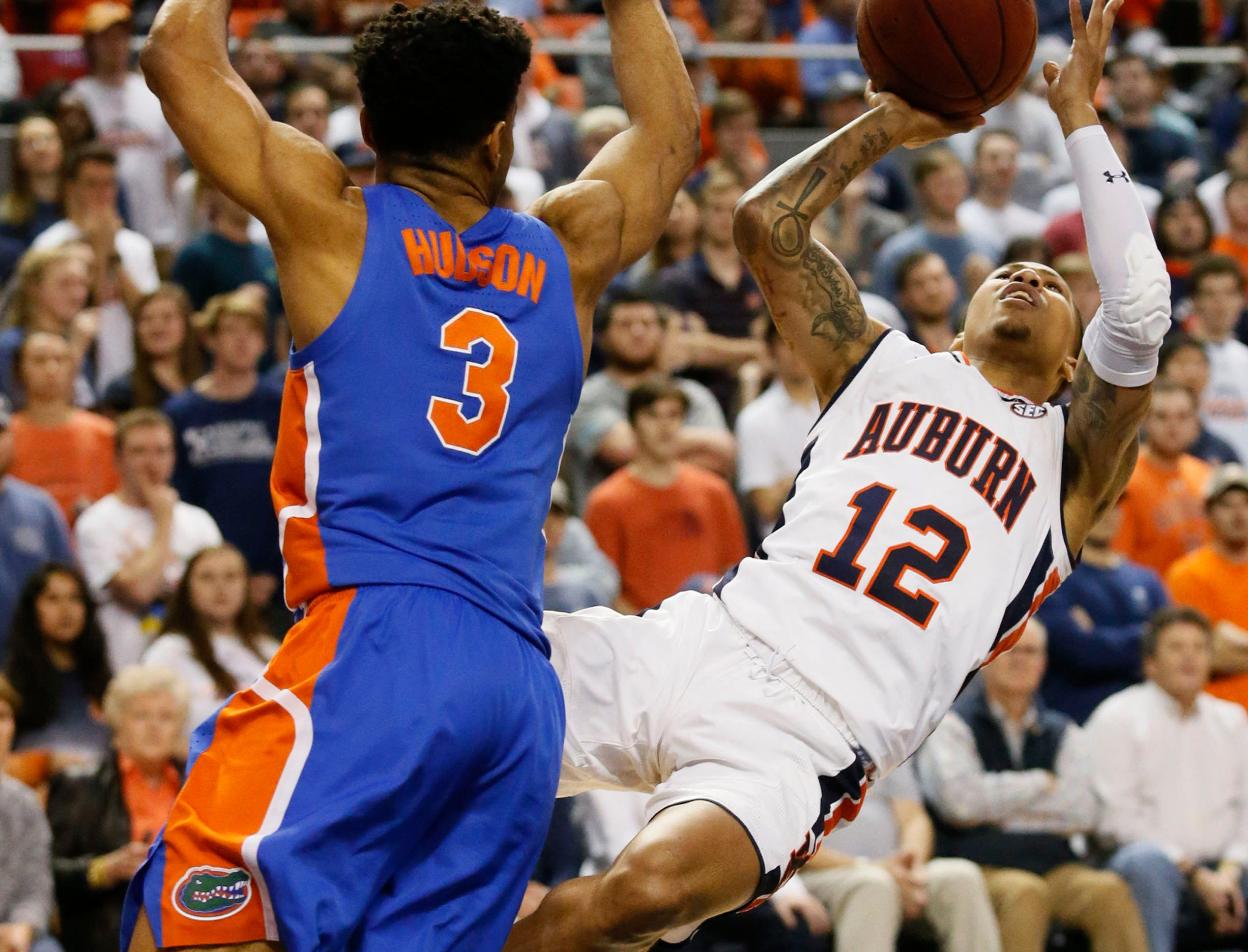 Feb 5, 2019; Auburn, AL, USA; Auburn Tigers guard J'Von McCormick (12) takes a shot after being fouled by the Florida Gators during the second half at Auburn Arena. Mandatory Credit: John Reed-USA TODAY Sports